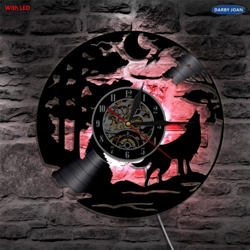 LED Vintage Backlight Lamp Wolf Vinyl Record Wall Clock