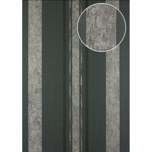 Atlas 24C-5059-1 Stripes wallpaper metallic highlights grey black 7.035 sqm