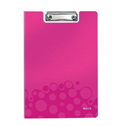 Leitz A4 Clipfolder with Cover, Lightweight Polyfoam, WOW Range, Metallic Pink,41990023