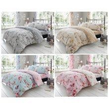Birdie Blossom Floral Printed Duvet Quilt Cover Birds Bedding Set Bed Linen