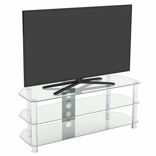 King Glass TV Stand 125cm, Chrome Legs, Clear Glass, Cable Management, for TVs up to 60""