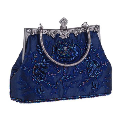 Women's Vintage Style Clutch Evening Bag Elegant Beaded Shoulder Bag Luxurious Handbag Purse,G