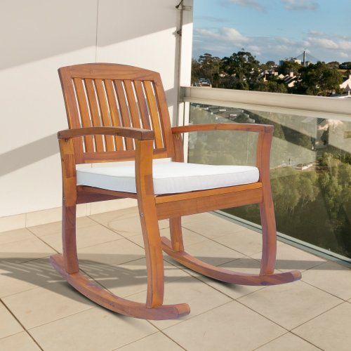 Outsunny Garden Acacia Wood Rocking Chair Deck Porch Seat Rocker With Cushion