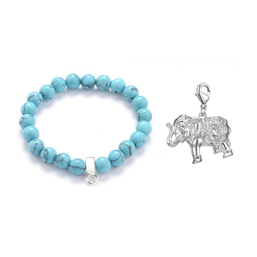 70f0522e6 Elephant Turquoise Gemstone Charm Bracelet on OnBuy