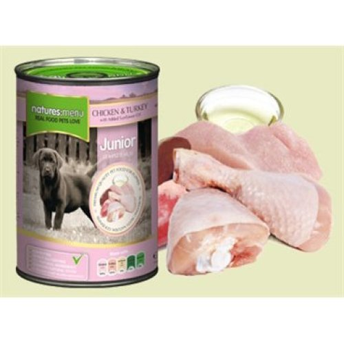 Natures Menu Junior Dog Can Chicken & Turkey With Herbs 400g (Pack of 12)
