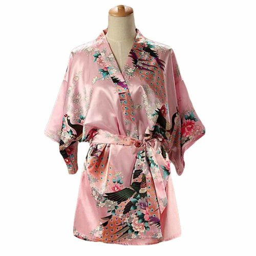 Pink - Women s Silk-like Pajamas Short Bathrobe Kimono Robe Peacock Blossoms  on OnBuy fc5560089