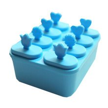 """Creative Top Quality Ice Cube Molds No Spill Square DIY Tray 5.5"""" Blue"""