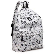 KONO Women Grey Flower Backpack Girls Canvas School Bag