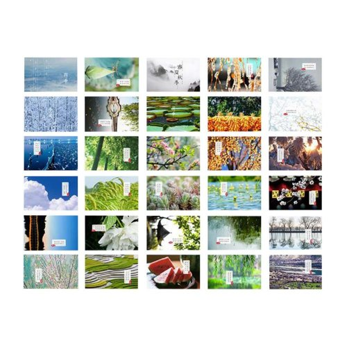 Scenery of the Four Seasons Pattern Postcards Set of 30