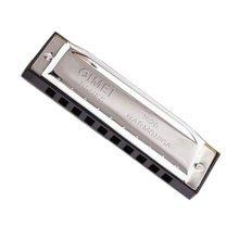 Blues 10 Hole Key of C Harmonica Practice Silvery coverplate black Harmonica