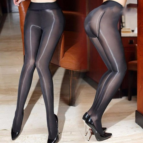 2017 New 8D Sexy Oil Shiny Pantyhose for Women Closed Crotch Sheer Stockings Smoothly Fabric See Through Gloss Detail