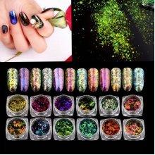 12 Colors Chameleon Pigment Flakes Nail Glitter Powder Shimmer Magic Laser Dust Tips