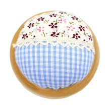 Set of 2 Pin Cushions for Sewing with Wood Base - 08