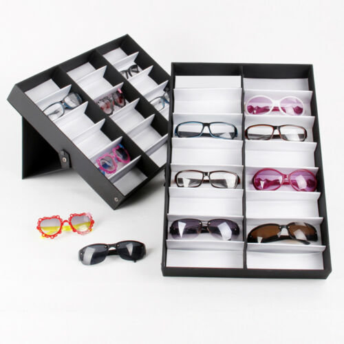 18Pcs Perfect Sunglass Display Storage Case Tray Organizer Glass Box Stand