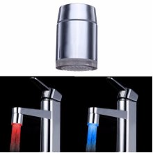 7 Color Changing LED Faucet Color Changing Water Tap Light Silver Adapter