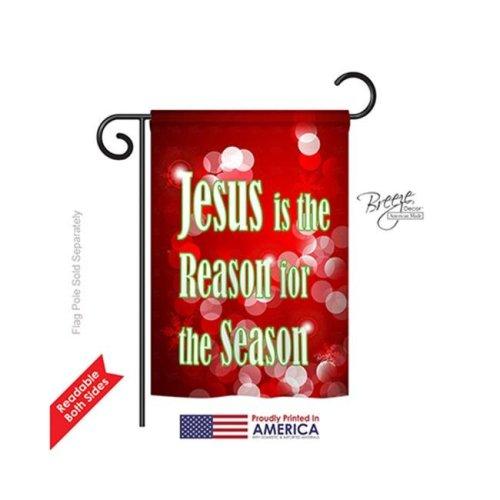 Breeze Decor 64099 Nativity Jesus is the Reason 2-Sided Impression Garden Flag - 13 x 18.5 in.