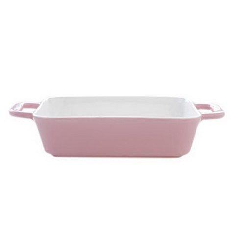 Rectangle Ceramic Bakeware Kitchen Cookware Cupcake Pans Oven Baking Tray,Pink