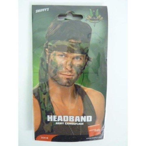 Army Headband, Camouflage, 150cm x 4cm -  army headband fancy dress camouflage smiffys unisex soldier accessory military