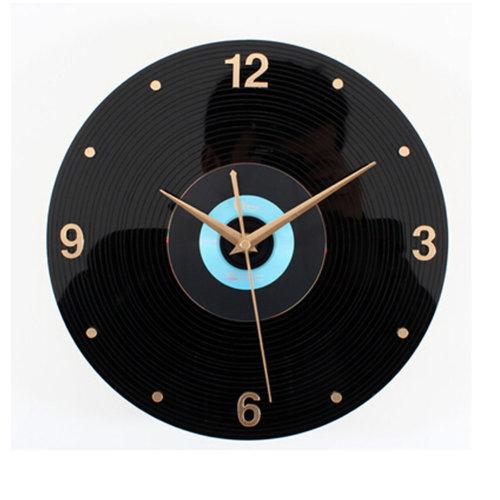 Retro Black Plastic CD Wall Clock Fashion Look Home Decoration(12'',Black/Blue)
