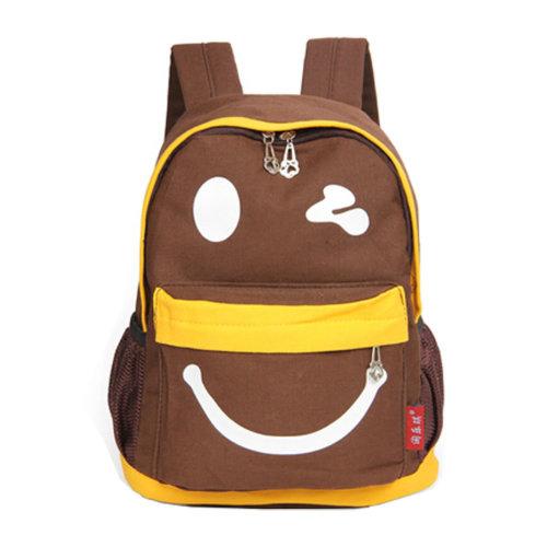 Smiling Face Little Kid Backpack Kids Boys Girls Backpack,brown