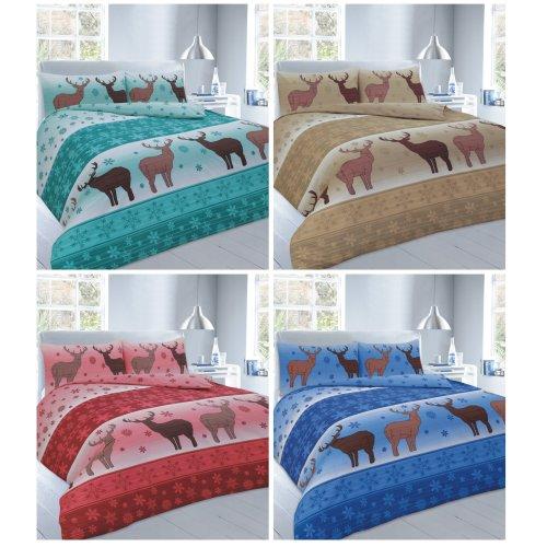 Christmas Fawn Deer Duvet Quilt Cover Bedding Set