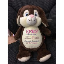 Chocolate Bunny With Embroidered Message, Name or Birth Date