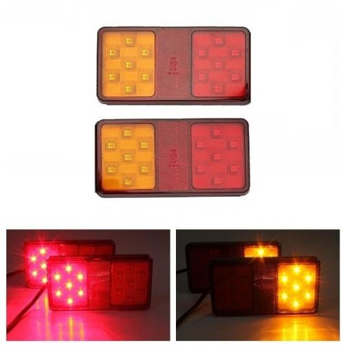 Pair 12V LED Rear Trailer Truck Tail Brake Stop Indicator Turn Signal Light Lamp