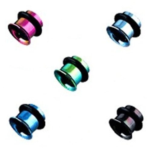 Urban Male Pack of Five Titanium Plated Ear Stretching Flesh Tunnels Single Flared 5mm