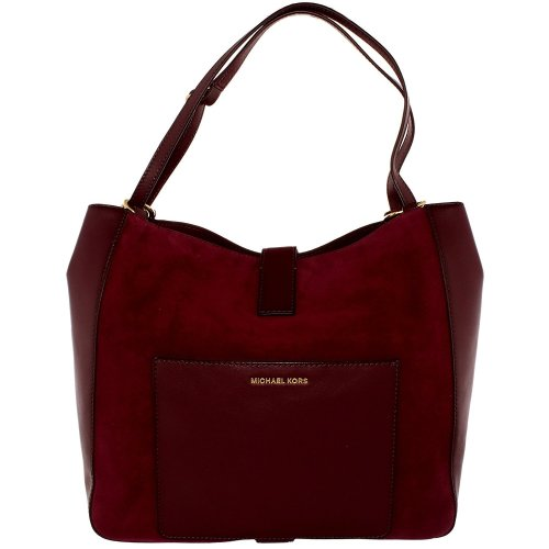 Michael Kors Quincy Large Suede and Leather Shoulder Tote - Maroon - 30F6AQYE3S-633