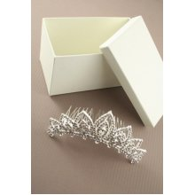 Sterling Silver-Gilt Pointed Loop Crystal Wedding Tiara Comb