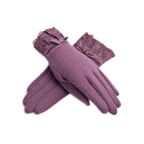 Purple Wool Gloves for Womens Lace Warm Gloves