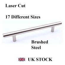 T-BAR HANDLE BRUSHED STEEL KITCHEN CABINET DRAWER CUPBOARD WARDROBE BEDROOM [655 mm overall length, Brushed Steel]