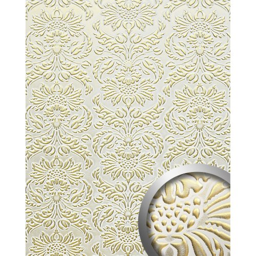 WallFace 14793 IMPERIAL Wall panel leather baroque damask white gold | 2.60 qm