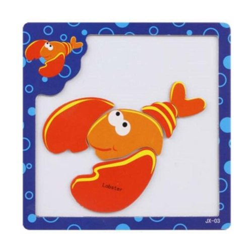 Lovely Shrimp Pattern Wooden Jigsaw Puzzles Educational Puzzle Toys