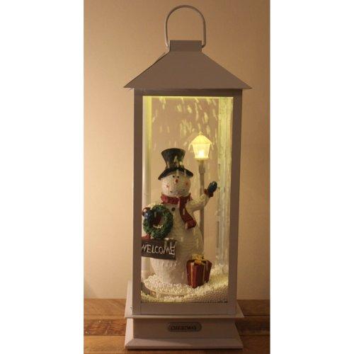 Xmas 45cm Musical WHITE Snowing Lantern Snowman noise touch sensitive