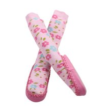 Minene Pink Flowers Sock Slippers (12-18 Months)