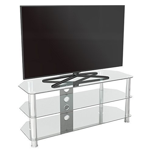 King Glass TV Stand 114cm, Chrome Legs, Clear Glass, Cable Management, for TVs up to 55""