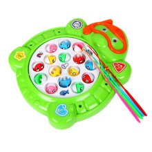 Electronic Toy Fishing Set Rotating Fish Game Toy With Music, Green Turtle