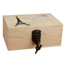 Creative Woody Retro Safe Lock Box Desktop Cosmetics Box Jewelry Box-L/T