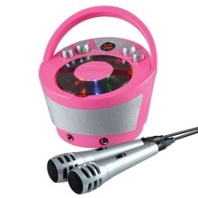 Groov-e Portable Karaoke Boombox Machine with CD Player and Bluetooth Wireless Playback - Pink (Model No. GVPS923PK)