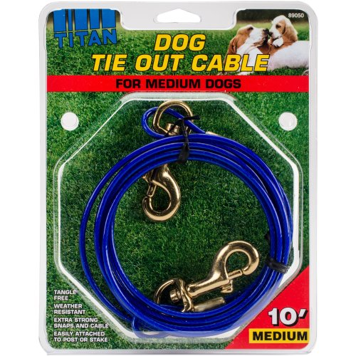 Titan 10' Dog Tie Out Cable W/Brass Plated Snaps-Blue