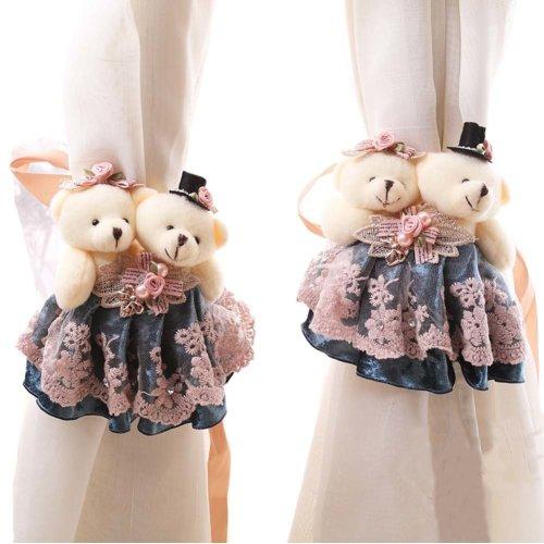 1 Pair of Cartoon Bear Curtain Hold Backs Curtain Tieback for Kids Bedroom, blue