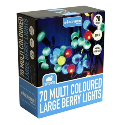 70 Multi Coloured Large Berry String Fairy Lights Indoor Outdoor Christmas Decorations