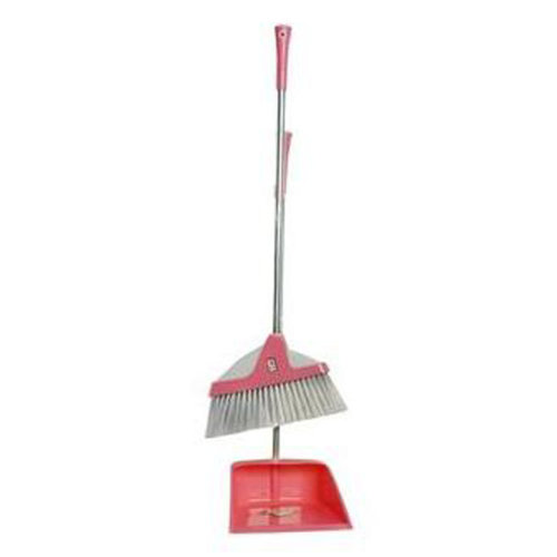 Durable Removable Broom and Dustpan Standing Upright Grips Sweep Set with Long Handle, #C9