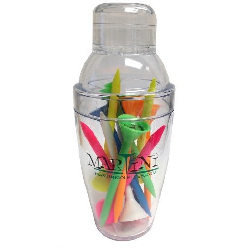 ProActive Sports Martini Golf Mini Shaker with 3 14 Durable Plastic Tees 12 Pack of Assorted Colors