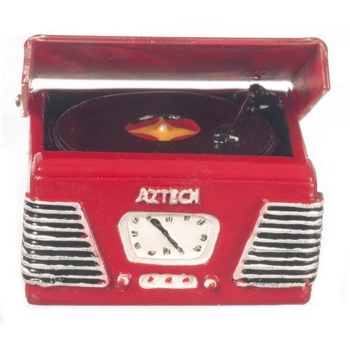 Dollhouse Miniature 1950s Style Turntable RED