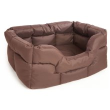 Country Dog Heavy Duty Waterproof Rectangle Drop Front Softee Bed Brown 75x60x27cm