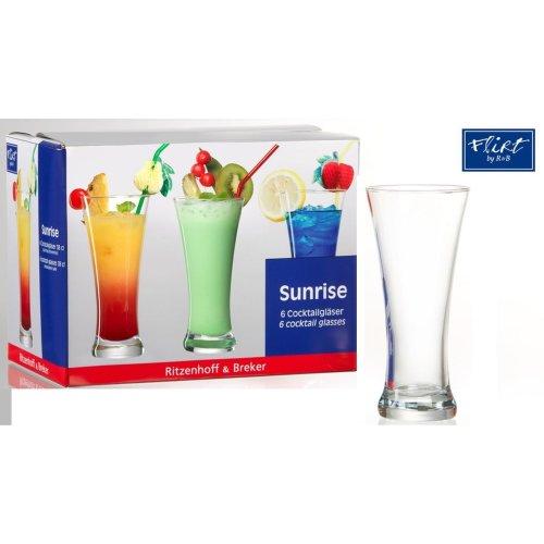 Ritzenhoff & Breker Sunrise Cocktail Glasses 38 cl Set of 6 Tall Lager Glasses