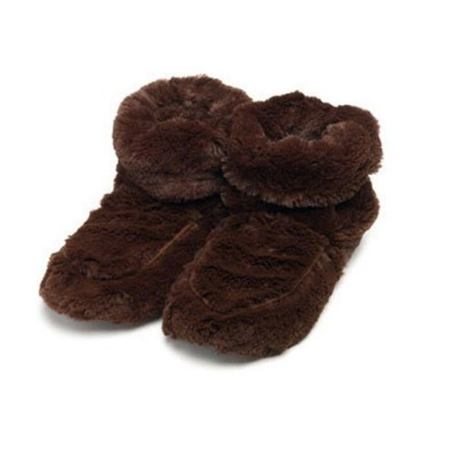 Warmies Slipper Boots Brown Plush Microwaveable Warm Fluffy Adult UK Size 3-7