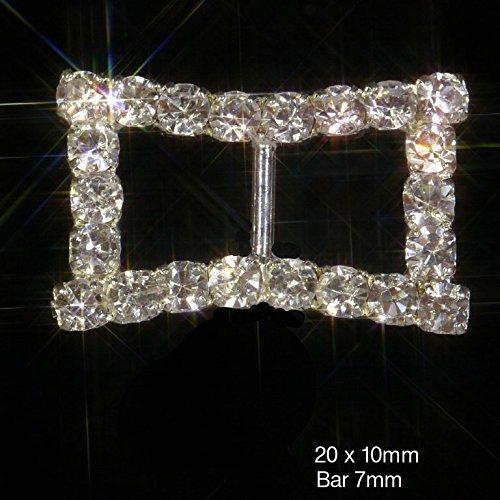 10 x Sparkly Curved Edge Silver Rectangle Diamante Rhinestone Ribbon Slider Buckles